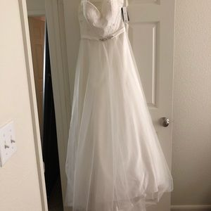 Beautiful jeweled belted wedding dress